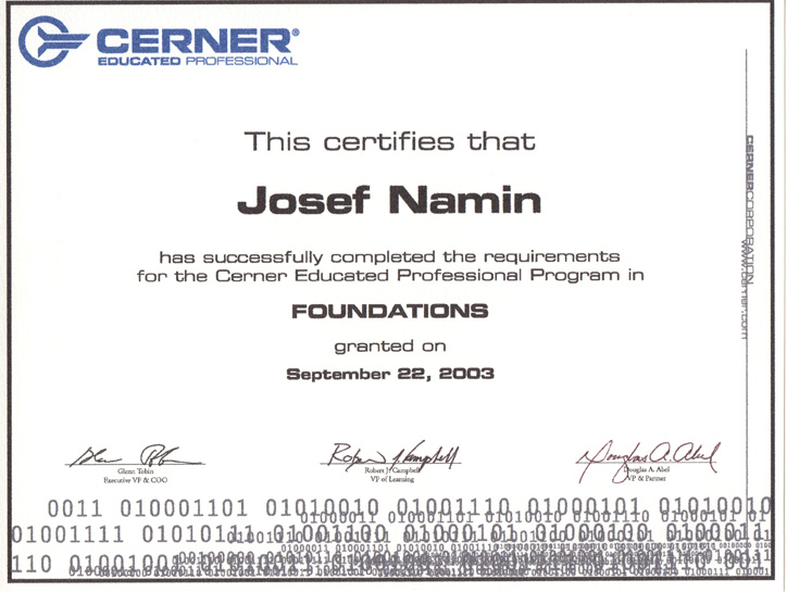 cerner certification josef namin foundation 2003 certifications