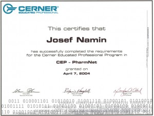 Josef Namin 2004 PharmNet Certification