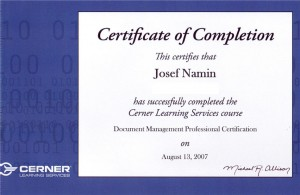 Josef Namin 2007 Document Management Professional Certification