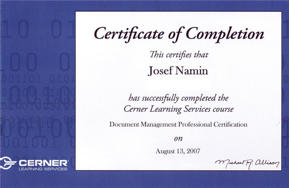 namin josef cerner 2007 certifications certification document professional management