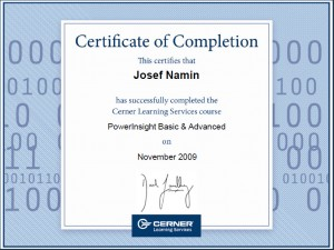 Josef Namin 2009 PowerInsight Certification
