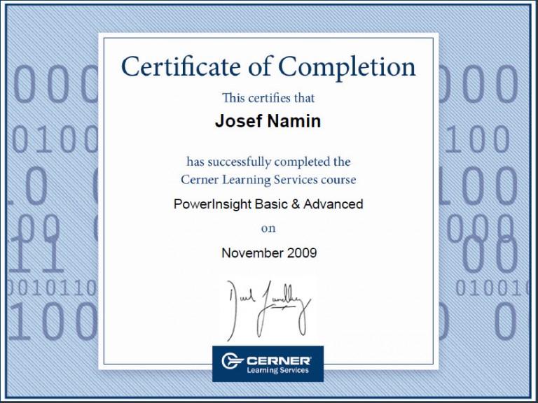 josef namin cerner certifications certification