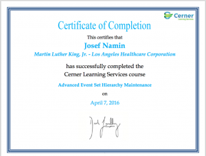 Josef Namin 2016 Advanced Event Set Hierarchy Certification