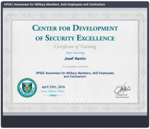 Josef Namin - Center for Development of Security Excellence