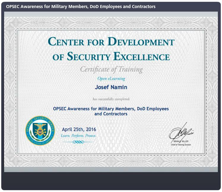 security excellence development namin josef cerner certifications