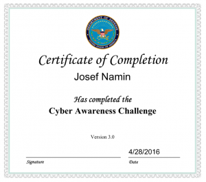 Josef Namin - Cyber Awareness Challenge