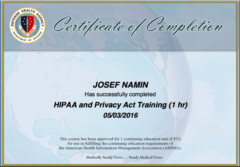 josef namin cerner hippa certifications